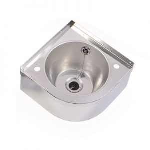 Vantage Wall Mounted Stainless Steel Corner Wash Hand Basin