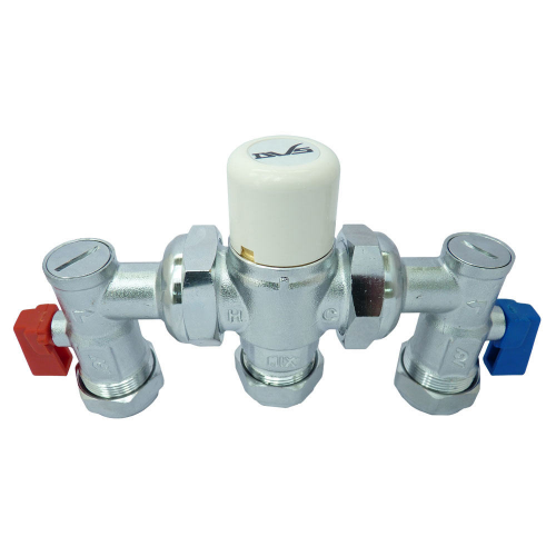Thermostatic mixing valve 4 in 1 15/22mm c/w fibre washers