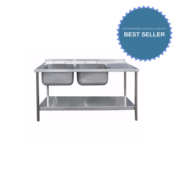 1800 x 650mm Double Bowl Sink Unit with Right Hand Drainer