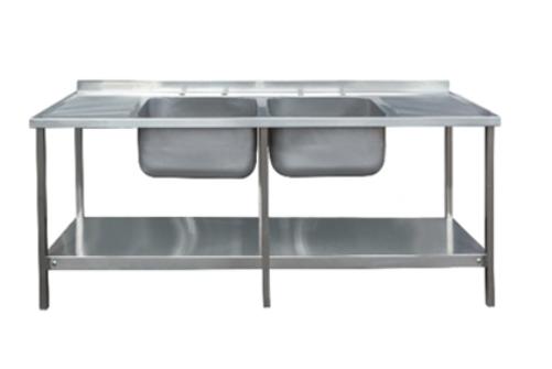 2400 x 650mm Double Bowl Double Drainer Sink Unit