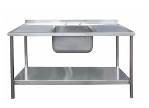 1500 x 600mm Single Bowl Double Drainer Sink Unit
