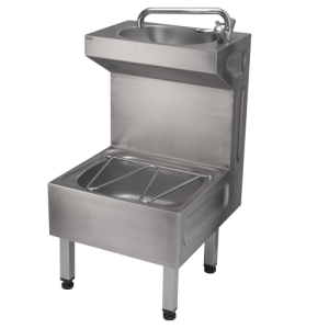 A stainless steel janitorial unit incorporating cleaners sink with bucket grating and hand rinse basin, meeting the requirements of health care standard HBN 00-10 HTM64