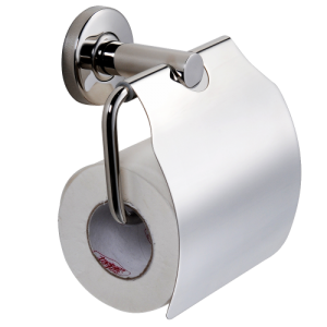 Single toilet roll holder with cover