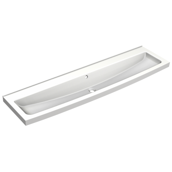 Saturn washtrough 1200mm with tap landing and manual self closing taps