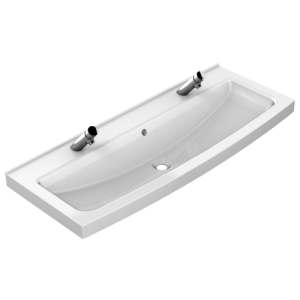 Miranit 1200mm washtrough with tap landing and manual self closing taps