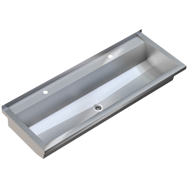 Stainless steel wash trough 1200mm with tap deck