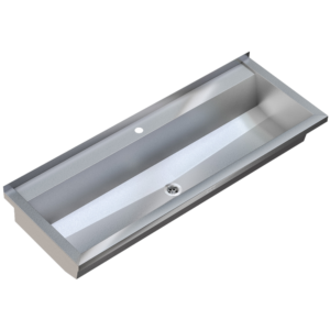 Stainless steel wash trough 600mm with tap deck