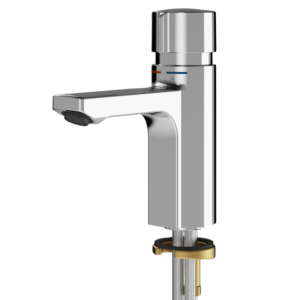 Self closing pillar mixer tap