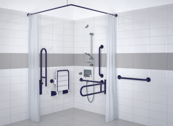 Doc M shower pack (exposed) in blue aluminium