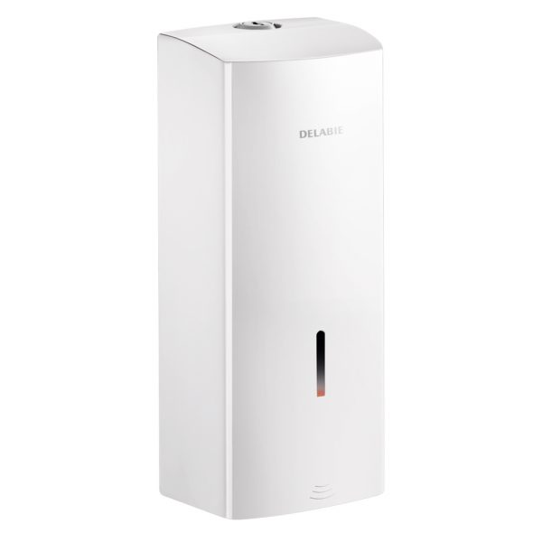 Wall mounted electronic soap and sanitiser dispenser in white